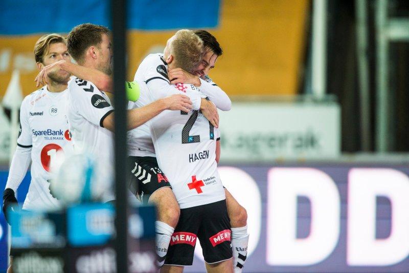 Odd - Ranheim. Oddjubel i eliteseriekampen i fotball mellom Odd og Ranheim på Skagerak Arena.Foto: Trond Reidar Teigen / NTB scanpix