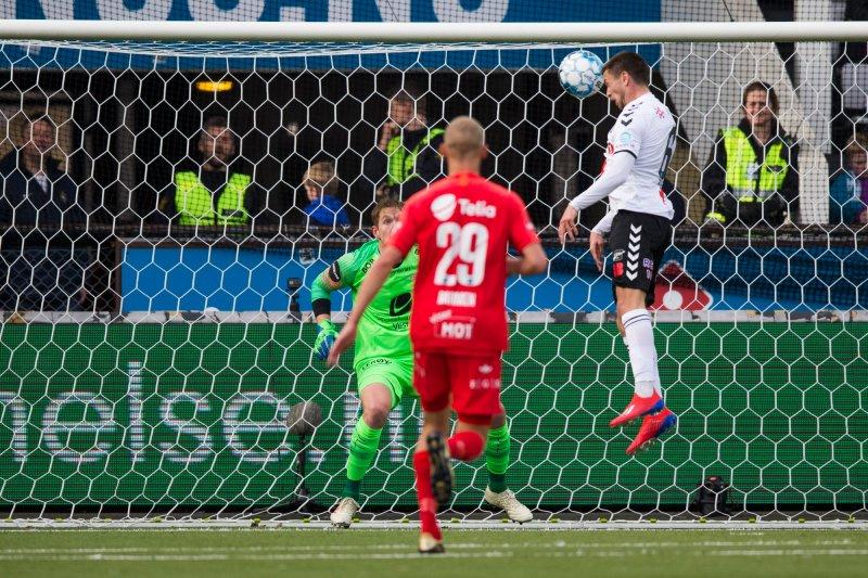 Eliteserien fotball 2019: Odd - Brann. Vebjørn Hoff scorer for Odd i eliteseriekampen i fotball mellom Odd og Brann på Skagerak Arena.Foto: Trond Reidar Teigen / NTB scanpix