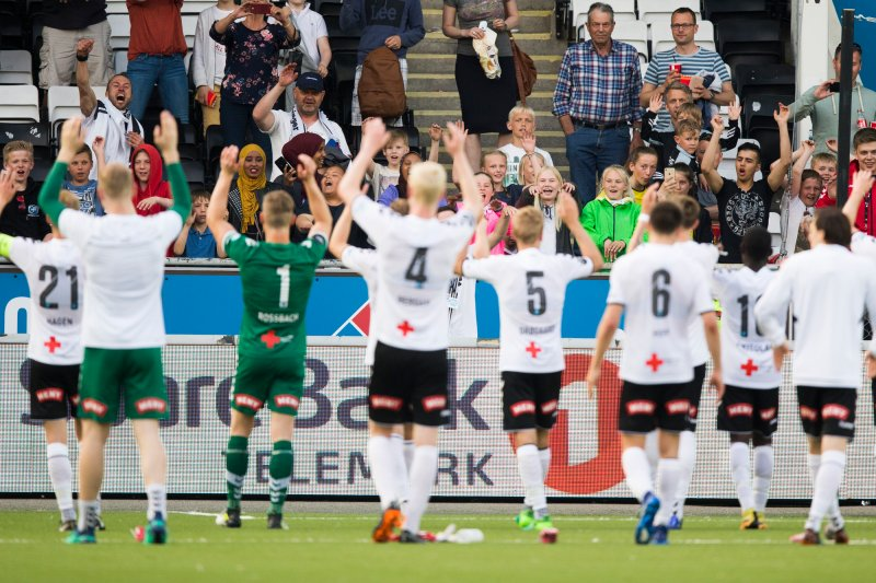 Odd-Sandefjord (5-0). Oddjubel etter eliteseriekampen i fotball mellom Odd og Sandefjord på Skagerak Arena.Foto: Trond Reidar Teigen / NTB scanpix