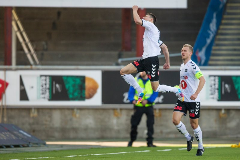 Odds Elbasan Rashani jubler i eliteseriekampen i fotball mellom Odd og Start på Skagerak Arena.Foto: Trond Reidar Teigen / NTB scanpix