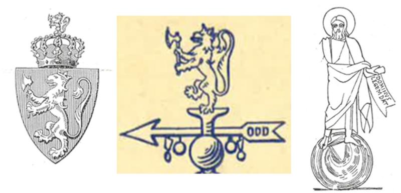 Norges riksvåpen 1905, Odds fanetopp og Jesus på himmelgloben