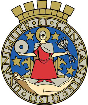 Oslos byvåpen: St. Hallvard sitter med pilene som drepte ham